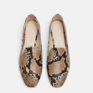 Zara Collection Snake Skin Leather Flats Loafers